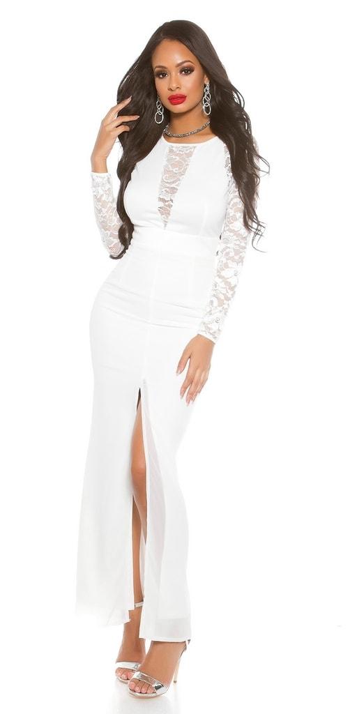 Koucla Dámské bílé dlouhé šaty
