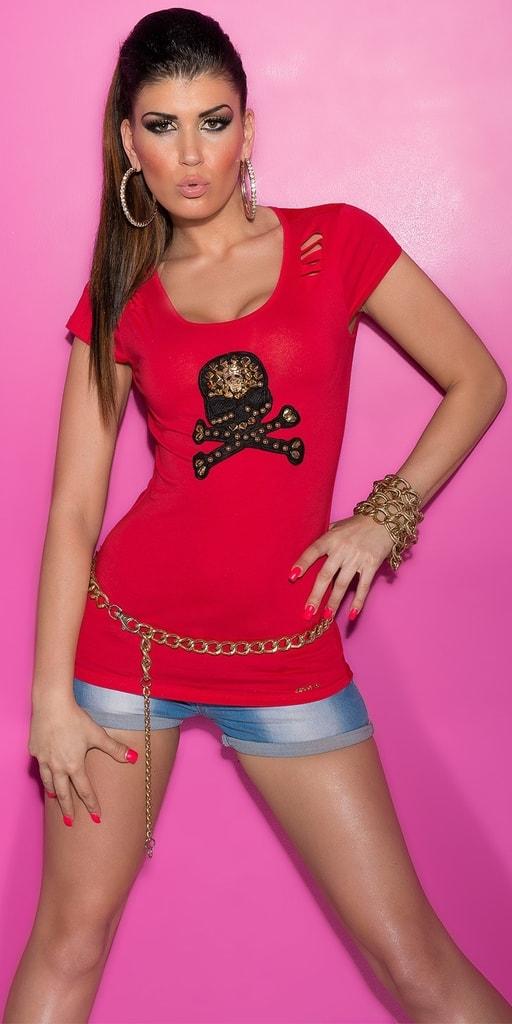 Koucla Červené tričko s průstřihy