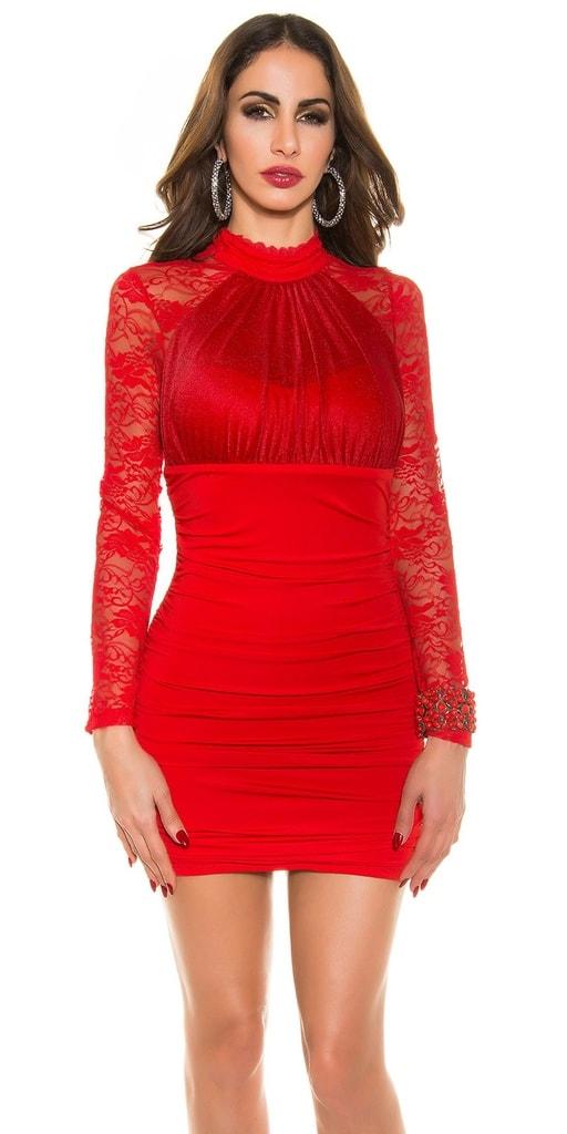 Koucla Dámské mini šaty na párty-červené