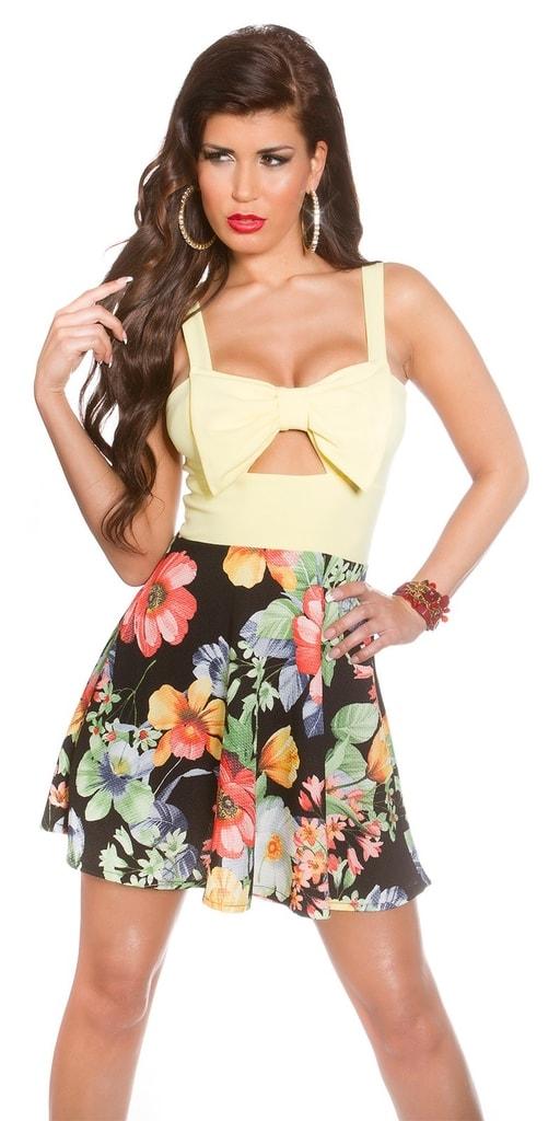 Koucla Květované letní šaty-žluté