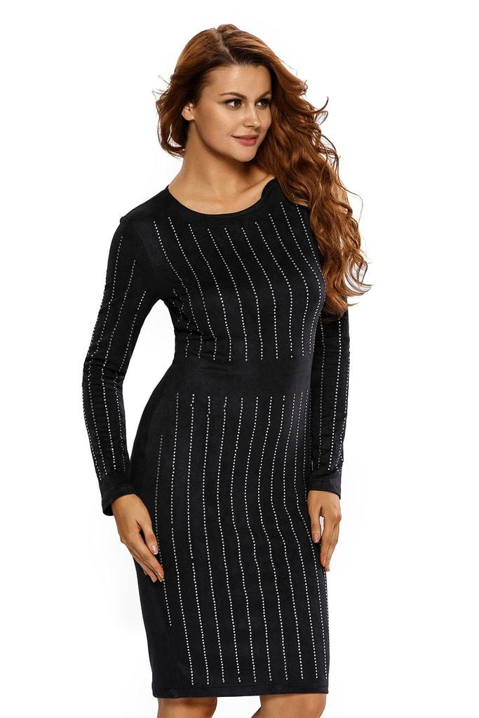 DAMSON Černé semišové šaty