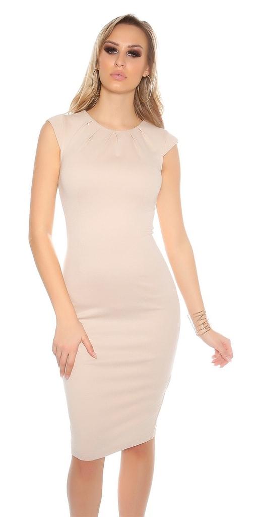Koucla Béžové pouzdrové šaty