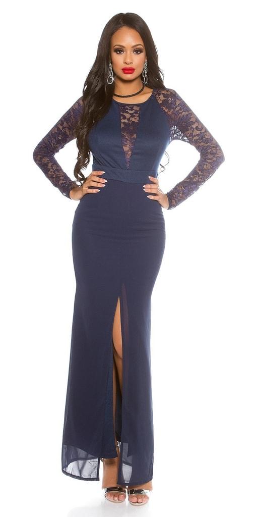Koucla Modré dlouhé šaty s krajkou