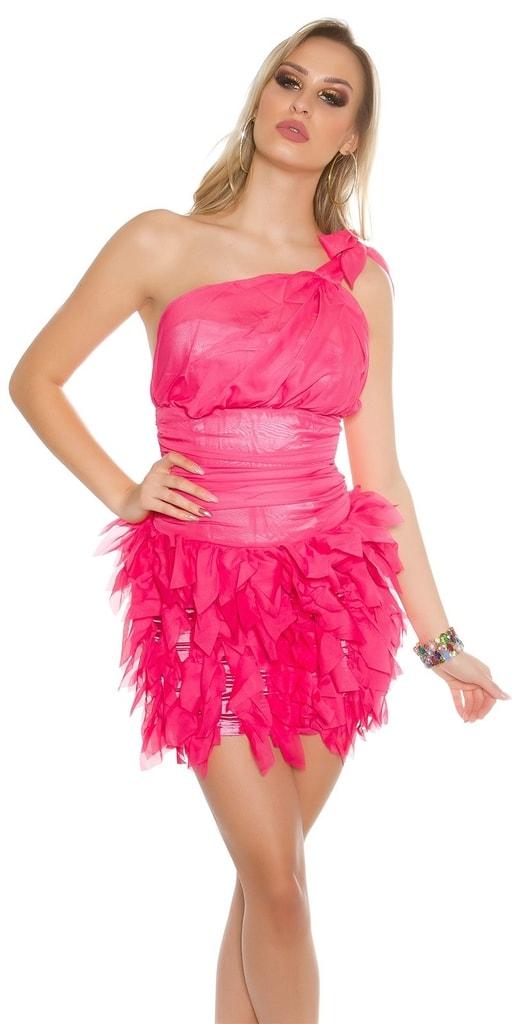 Koucla Dámské růžové koktejlové šaty