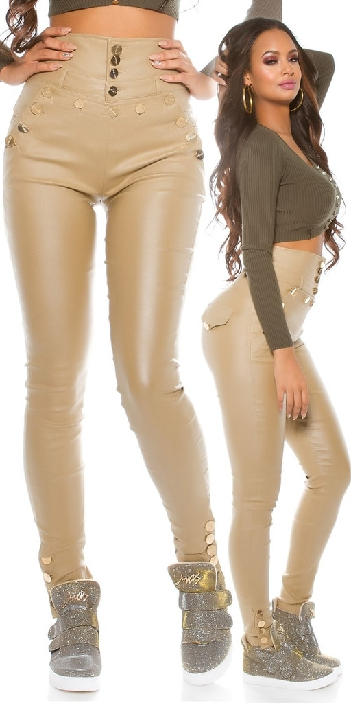 Koucla Lesklé kalhoty s vysokým pasem