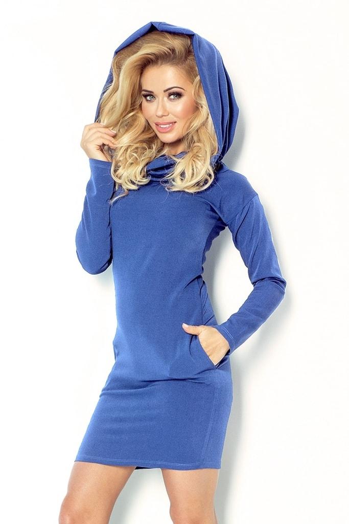 Numoco Modré dámské šaty s límcem 96-3