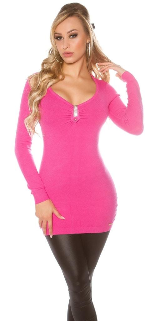 Koucla Růžový dlouhý svetr