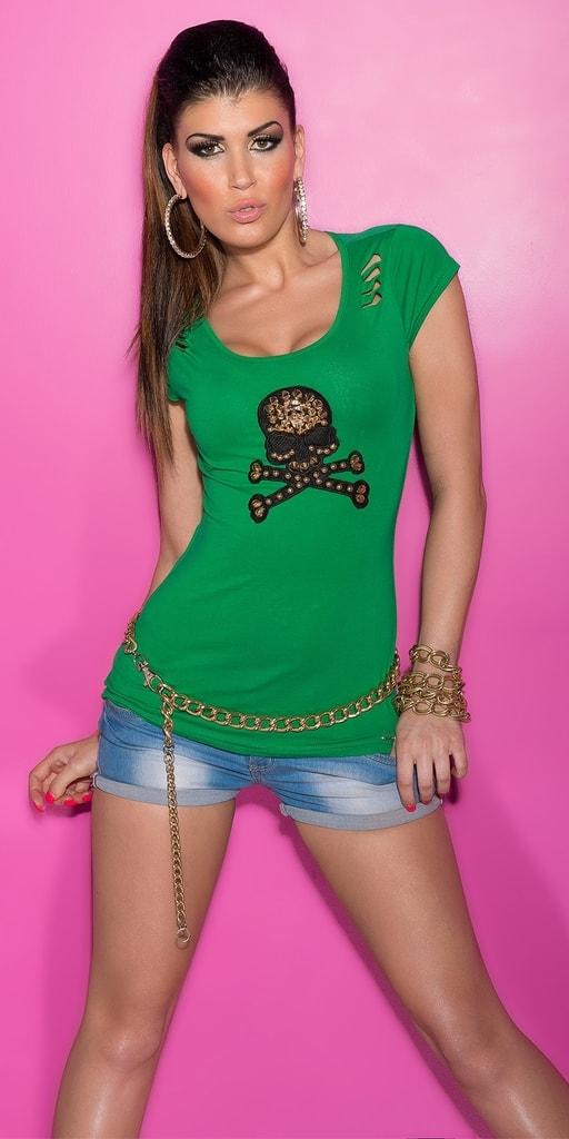 Koucla Zelené tričko s průstřihy