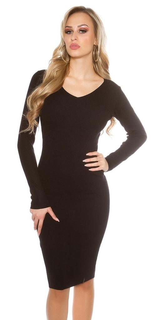 Koucla Černé pletené šaty