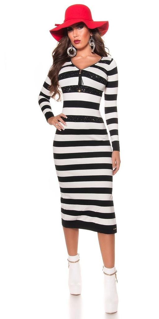 Koucla Černobílé dlouhé proužkované šaty