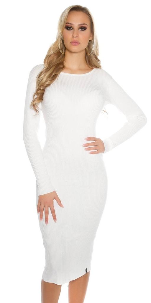 Koucla Bílé dámské úpletové šaty
