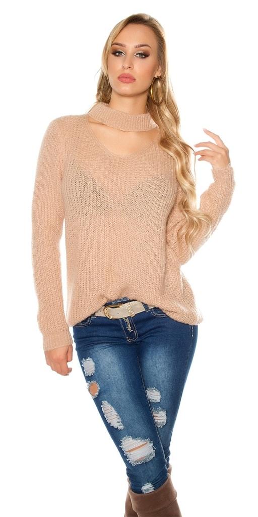 Koucla Růžový mohérový svetr