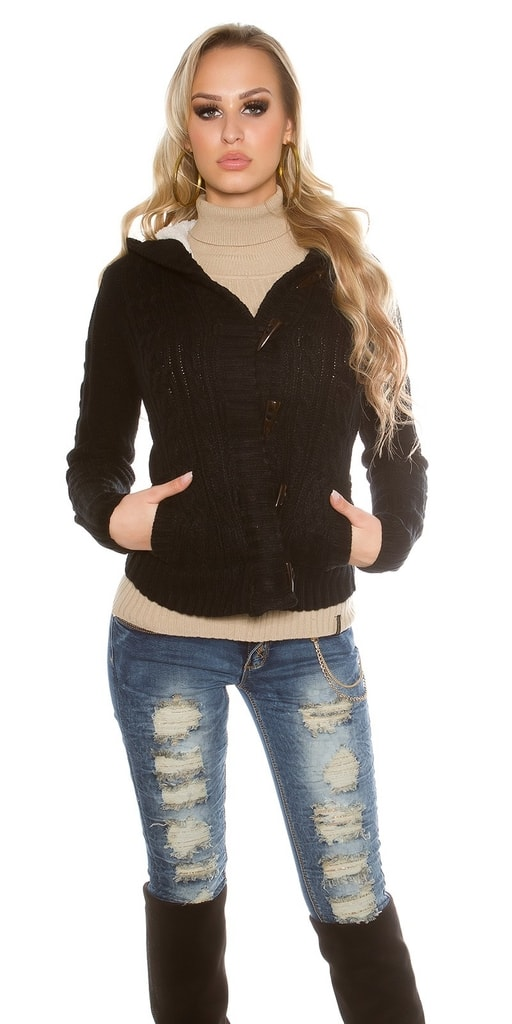 Koucla Dámský pletený kabátek s kapucí
