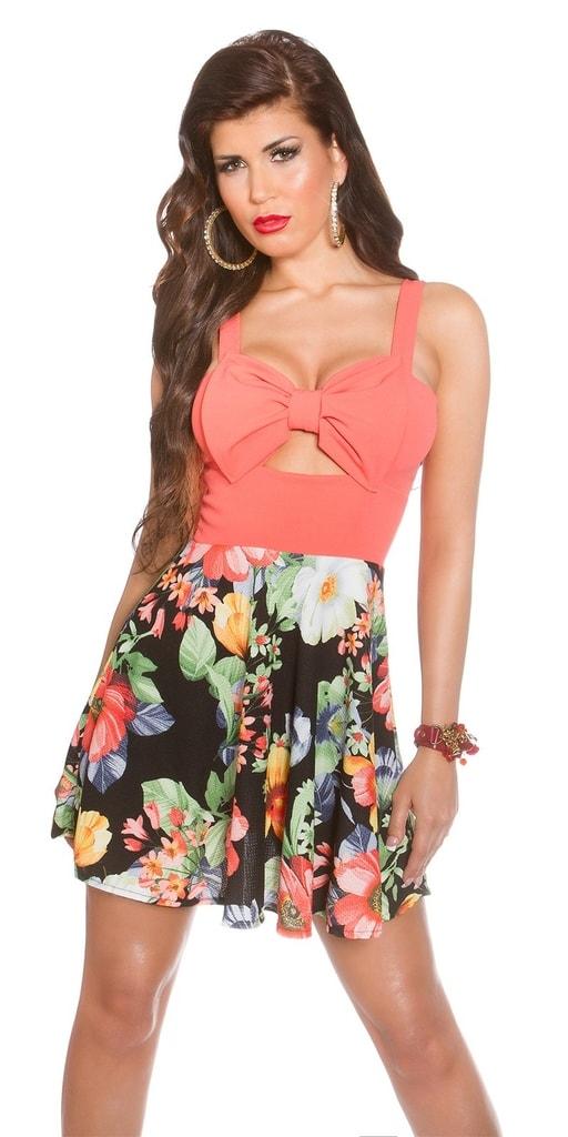 Koucla Letní květované šaty-koralové