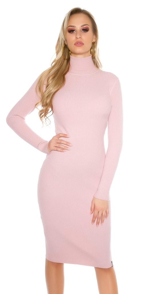 Koucla Růžové dlouhé šaty s rolákem