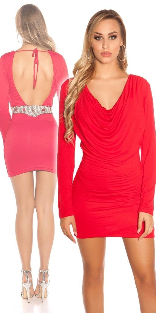Koucla Dámské červené šaty s holými zády