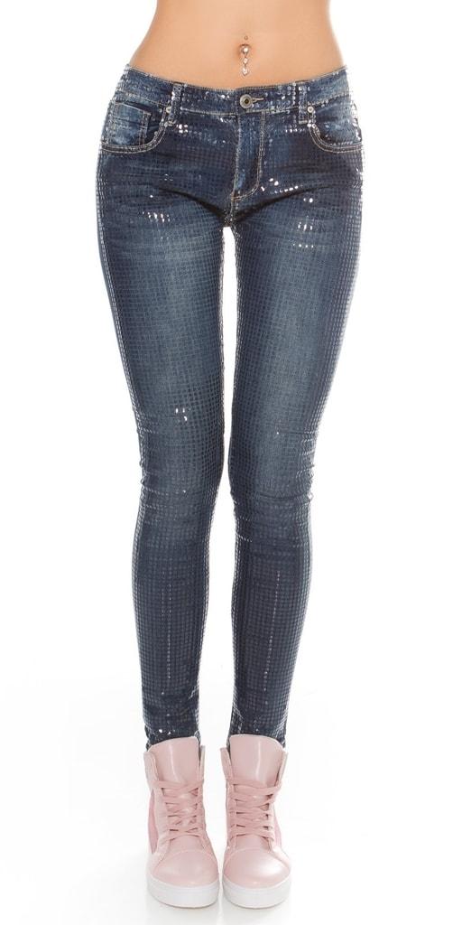 Dámské lesklé skinny džíny