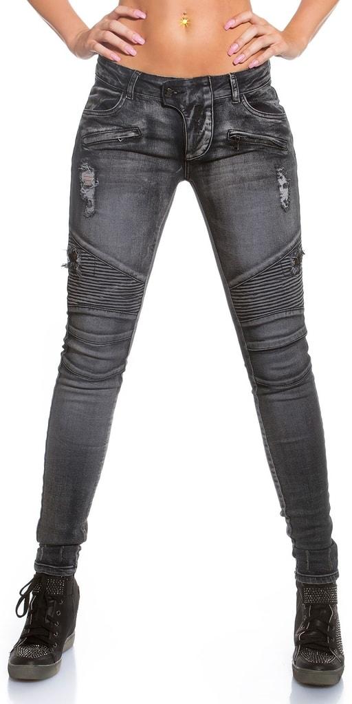 Koucla Černé džíny motorkářského vzhledu