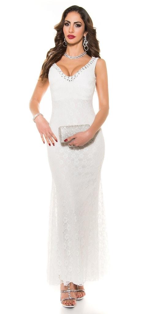 Koucla Bílé krajkové dlouhé šaty