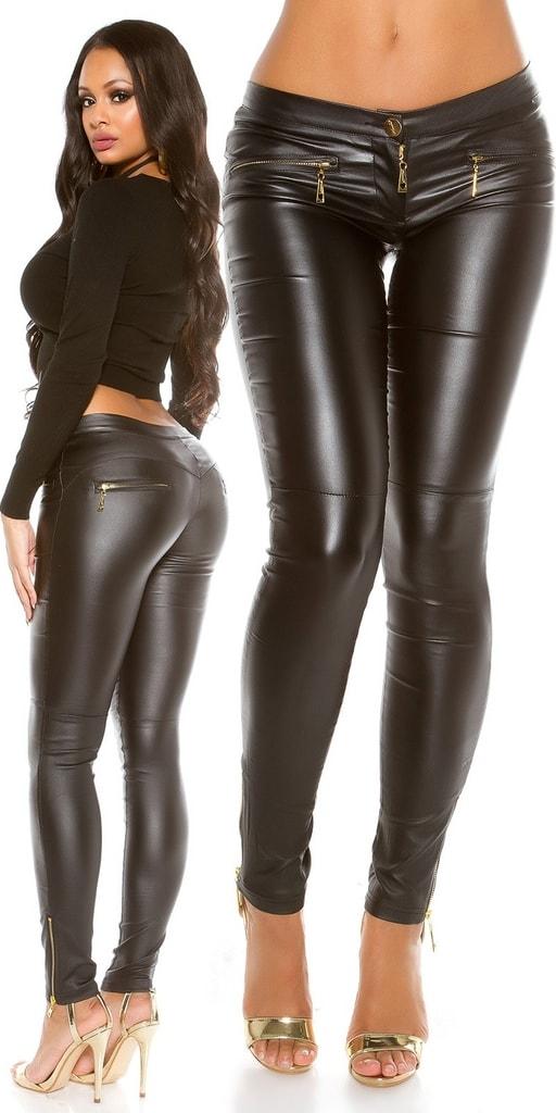 Koucla Černé lesklé dámské kalhoty