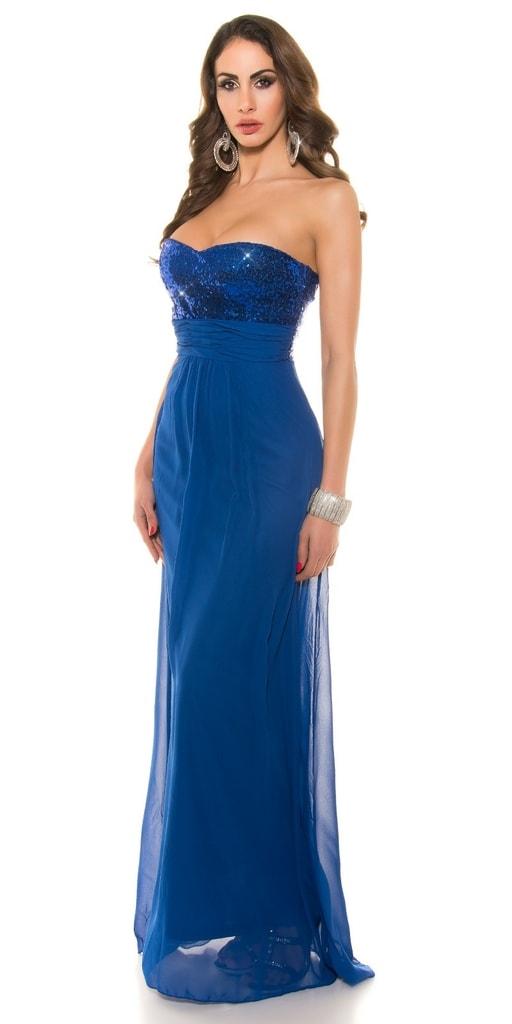 Koucla Dlouhé plesové šaty modré