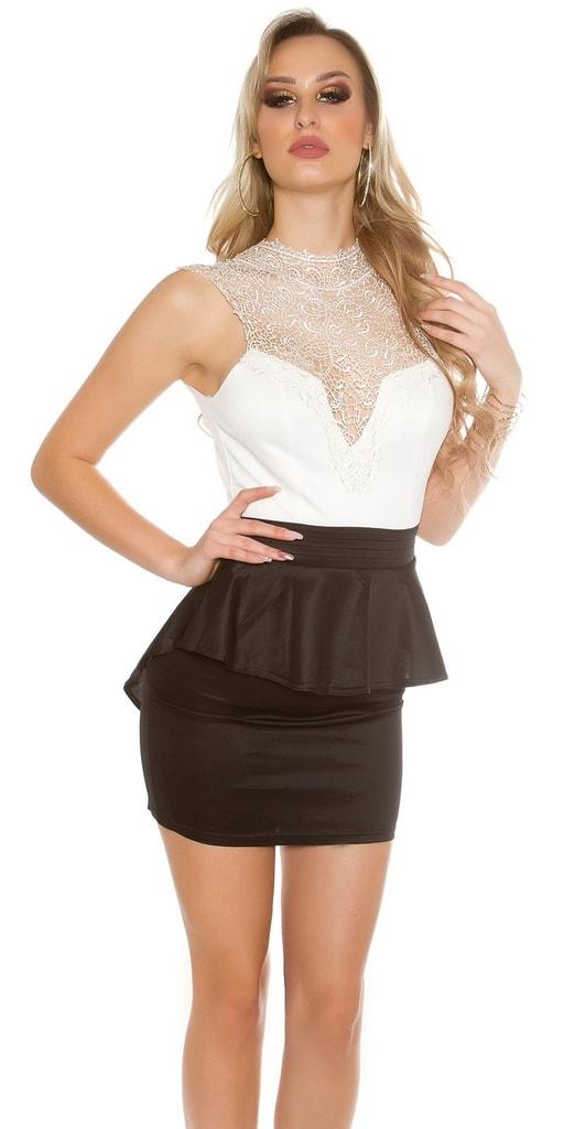 Koucla Černobílé krajkové šaty