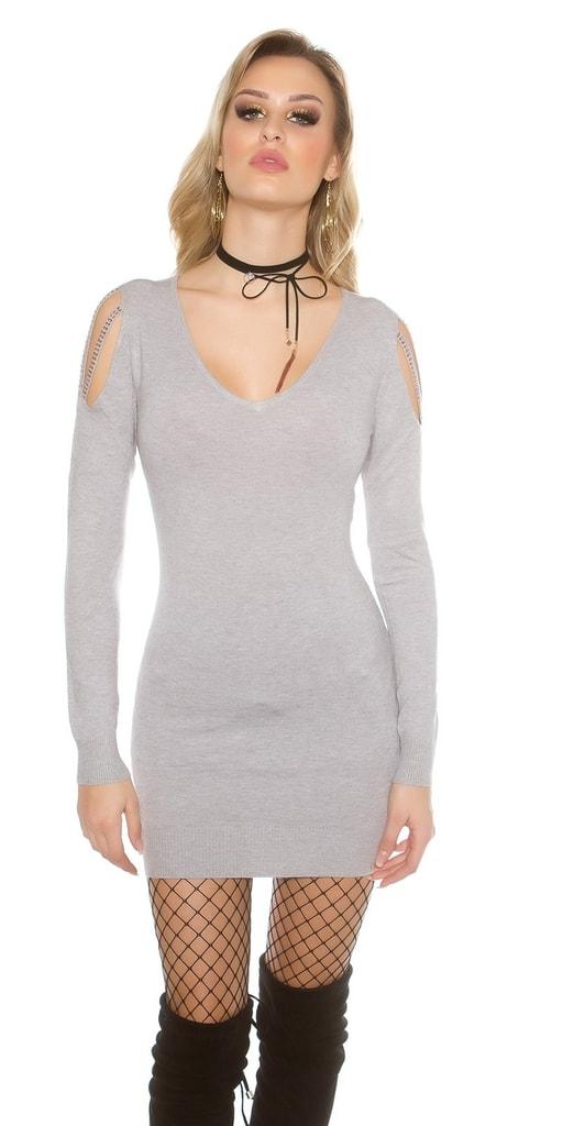 Koucla Dámský šedý dlouhý svetr