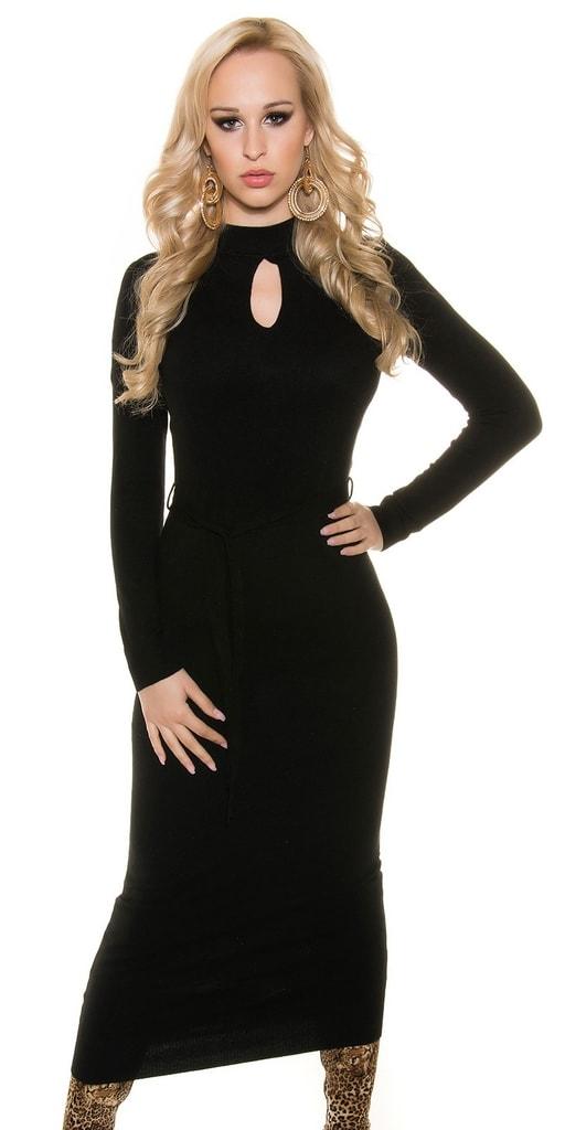 Koucla Černé dlouhé úpletové šaty