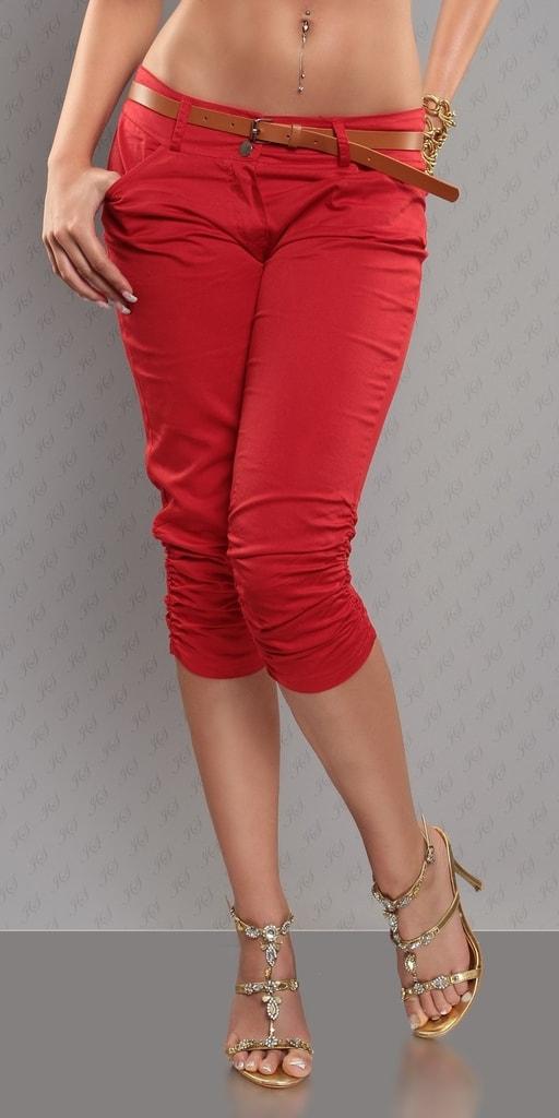 Koucla Dámské červené capri kalhoty
