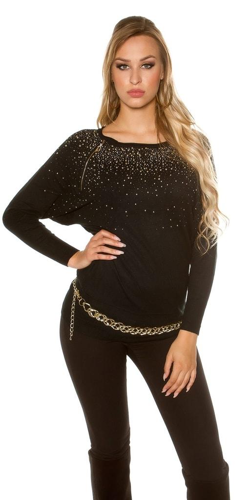 Koucla Elegantní svetr s kamínky