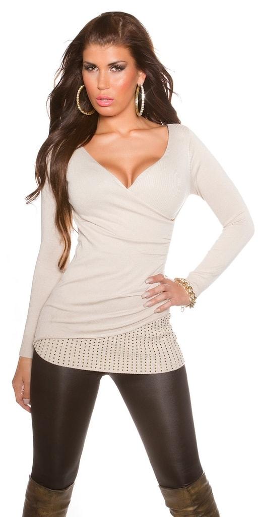 Koucla Béžový dámský svetr