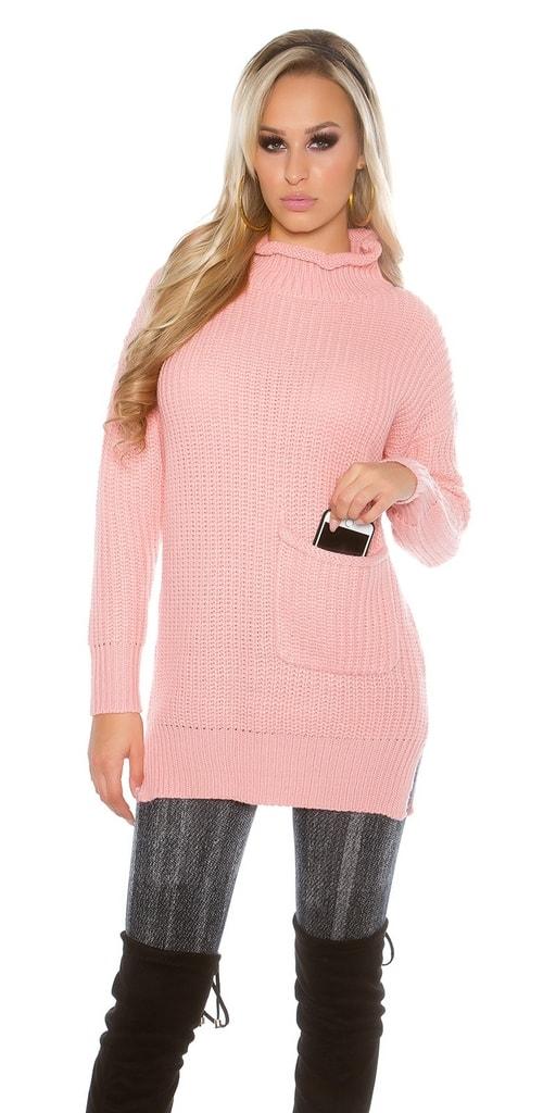 Koucla Růžový delší svetr