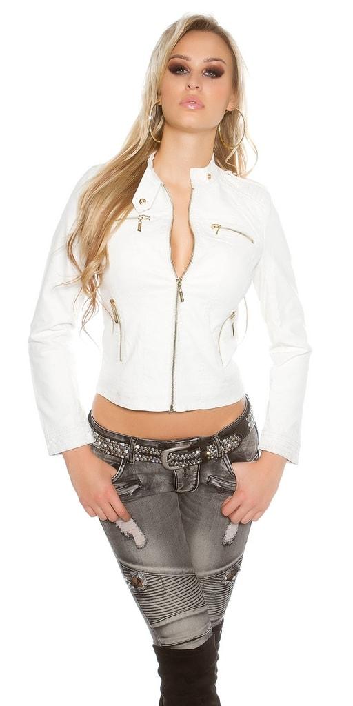 Koucla Bílá koženková bunda