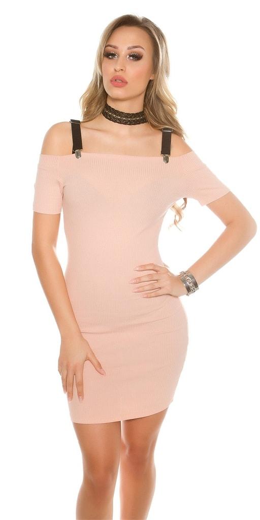 Koucla Růžové žebrované šaty