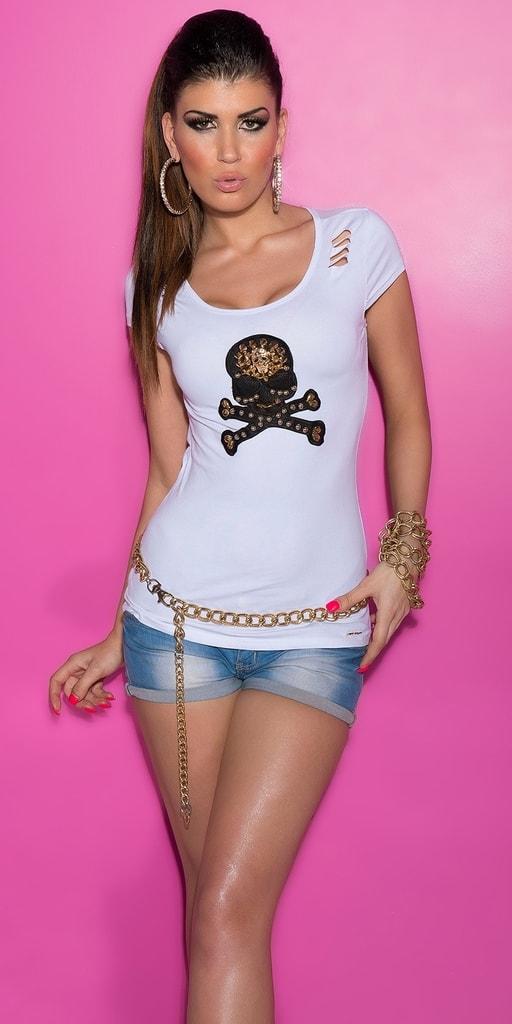 Koucla Bílé tričko s průstřihy