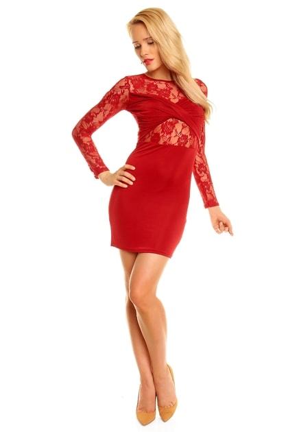 Krajkové červené šaty - EU - Večerné šaty a koktejlové šaty - vasa-moda.sk 7aa23b8f76