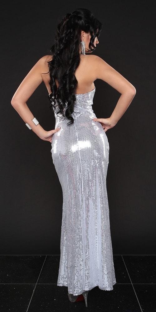 Biele dlhé šaty s flitrami - Koucla - Večerné šaty a koktejlové šaty ... b4f97006d5d