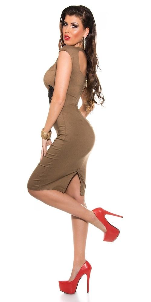 Večerní šaty hnědé - Koucla - Večerní šaty a koktejlové šaty - i-moda.cz f6187a62ddd