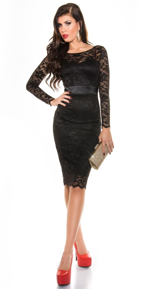 Čierne čipkované šaty - Koucla - Večerné šaty a koktejlové šaty ... 8f29da41063