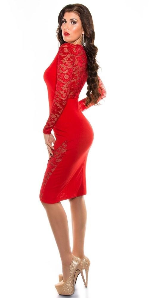 Červené šaty s čipkou - Koucla - Večerné šaty a koktejlové šaty ... 761b48ebc63