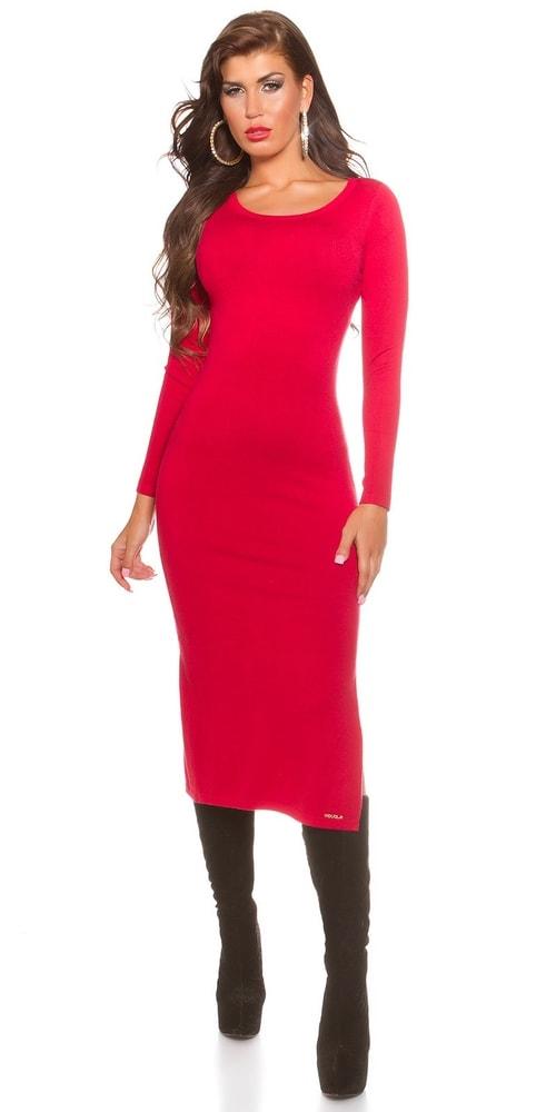 Dlhé šaty z úpletu - červené - Koucla - Úpletové šaty - vasa-moda.sk 4a6bac9c91