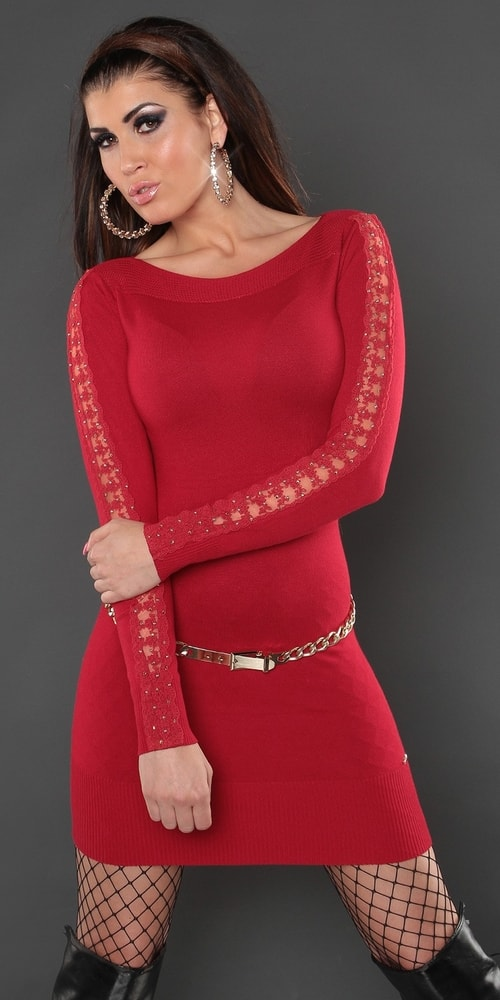 Červené úpletové mini šaty - Koucla - Úpletové šaty - vasa-moda.sk 771bbc2ce7