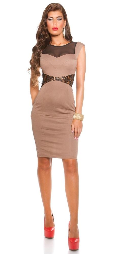 Koktejlové šaty - hnedé - Koucla - Večerné šaty a koktejlové šaty ... e1b465a7281