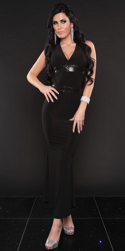 0c7d84715936 Dlouhé šaty černé - Queen O.F. - Plesové šaty - vasa-moda.sk