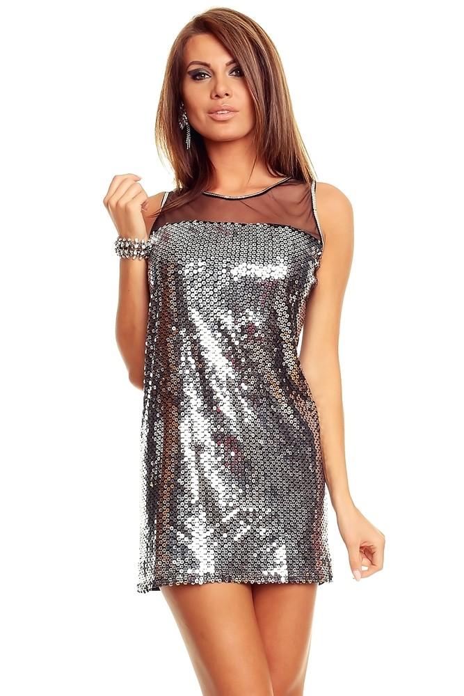 Stříbrné šaty s flitry - Večerní šaty a koktejlové šaty - i-moda.cz 9d1d1eedb5
