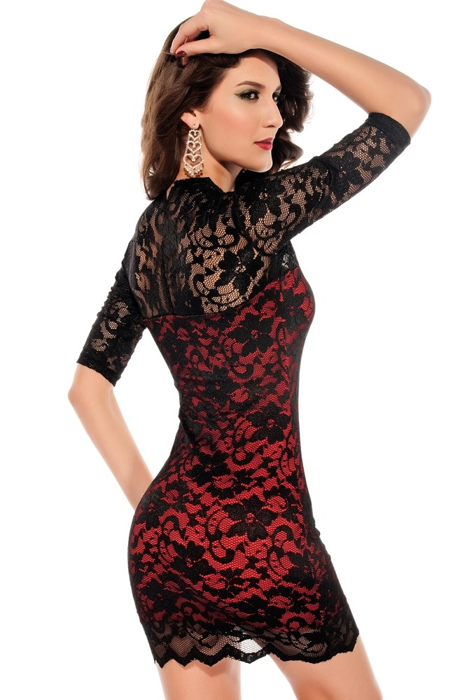 Krajkové šaty - červené - DAMSON - Večerné šaty a koktejlové šaty ... 58b40556a07
