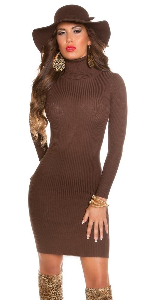 Elegantné úpletové šaty - hnedé - Koucla - Úpletové šaty - vasa-moda.sk 14ddd957e28