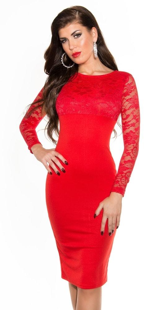 Červené krajkové šaty - Koucla - Puzdrové šaty - vasa-moda.sk 590e5beeb76