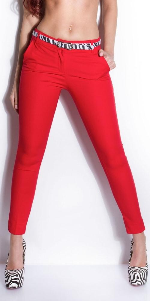 180f50c7404 Červené dámské kalhoty s páskem - Koucla - Dámské kalhoty - i-moda.cz