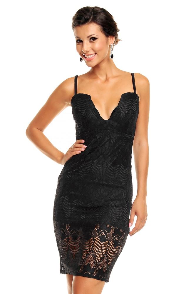 Čierne čipkované šaty - Mayaadi - Večerné šaty a koktejlové šaty ... 4379a6f8efc